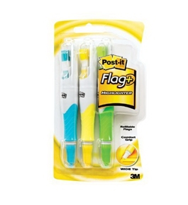 Post-it Flag+ Highlighter, Yellow, Green, and Blue, 50-Flags/Highlighter, 3-Pack