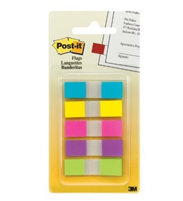 Post-it Flags with On-the-Go Dispenser, Assorted Bright Colors, 1/2-Inch Wide, 100/Dispenser, 1-Dispenser/Pack
