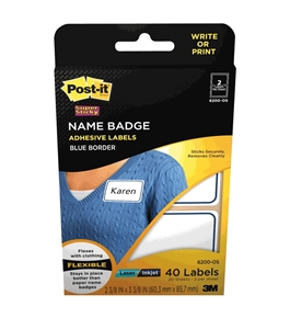 Post-it(R) Name Badge Labels, 2-11/32 x 3-3/8 Inches, Blue Border (6200-OS)