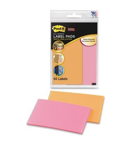 Post-it Super Sticky Removable Label Pads, 2.875 x 4.62 Inches, Orange, Pink, 2 Pads, 50 Labels per Pack (2900-OP)