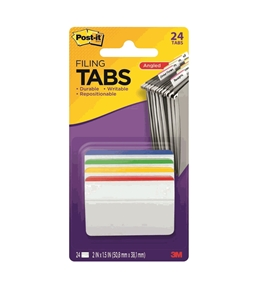 Post-it Tabs, 2-Inches, Angled Lined, 4 Assorted Primary Colors, 6-Tabs/Color, 24-Tabs/Pack