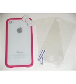 Premium Quality (HOT PINK) iPhone 4S / 4 Bow Bumper Case Skin Cover