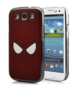 Premium Spiderman Style Red Spider Web Hard Case with Eyes For Samsung Galaxy S3 III i9300 (Android)
