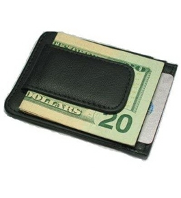 Printed grain cow hide leather money clip with magnet