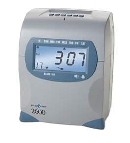 Pyramid 2600 Auto-Aligning Time Clock w/ free rack