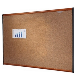 "Quartet B243LC Prestige Colored Cork Bulletin Board, 3"" x 2"", Cherry Finish Frame"