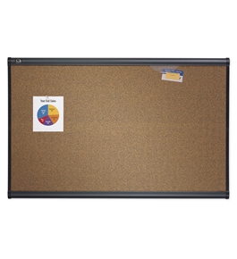 "Quartet B244G Prestige Colored Cork Bulletin Board, 4"" x 3"", Graphite Finish Frame"