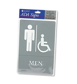 Quartet ADA Approved Men's Restroom Sign, Wheelchair Accessible Symbol with Tactile Graphics, Molded Plastic, 6 x 9 Inches, Gray (01416)