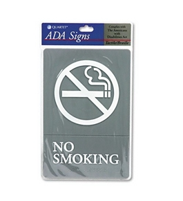 Quartet ADA No Smoking Sign, 6 x 9 Inches, Gray (01412)