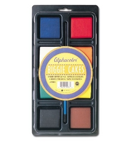 Quartet Alphacolor Concentrated Tempera Biggie Paint Cake Tray Set, 2 x 2.5 x 0.5 Inches, Multi-Colored, 8 Colors per Pack (428003)
