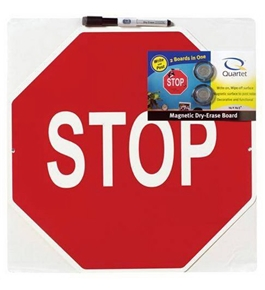 Quartet Stop Sign Magnetic Dry-Erase Board, 14 x 14.5 Inches, Red (089341D)