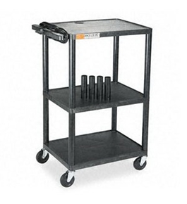 Quartet TPDUOEQ Plastic Utility/Projector AV Cart, Three Shelves, 24w x 18d x 42h, Black