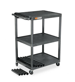 Quartet TPTVDUOEQ Wide Body Plastic TV/Monitor Cart, Three Shelves, 300lb Cap, 32 x 24 x 54, Black