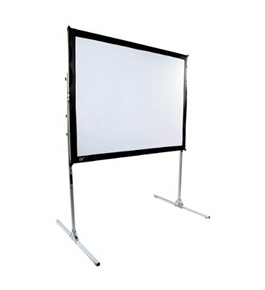 QuickStand 4:3 Diagonal Projection Folding Screen w Aluminium Wheel Case (58 in. W x 43.5 in. H)