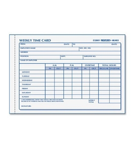 Rediform Time Card Pad, Weekly, Manila, 4.25 x 6 Inches, 100 Cards (4K403)