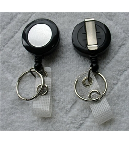 Retractable BLACK Reel With Belt Clip For Key, IDs, Badges (Sold Individually)