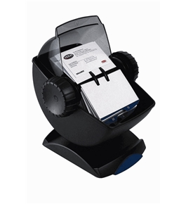 Rolodex 67242 Rolodex Covered Rotary Card File, Swivel, 200 Sleeves, 400-Card Cap, BK/SKE