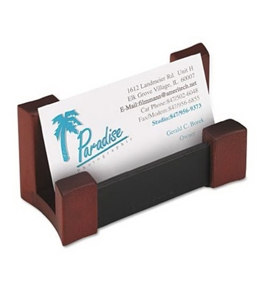 Rolodex Leather Business Card Holder, Wood and Faux (81766)