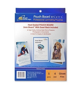 Royal Sovereign Heat Sealed Pouchboard Laminating Pouches, 4 Mil, Letter Size, Clear Gloss, White Back
