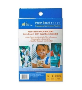 "Royal Sovereign Heat Sealed Pouchboard Laminating Pouches White Back 4 Mil 4 3/8"" X 6 1/2"" Photo Size"