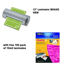 Royal Sovereign NR-1201 12 Business Pouch Laminator w/ free pack of 10mil