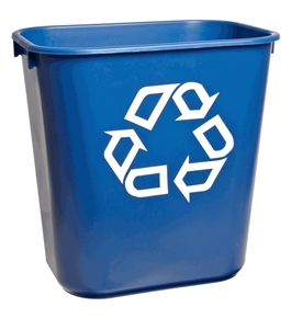 "Rubbermaid Commercial Plastic 3.408-Gallon Small Deskside Recycling Container with Universal Recycle Symbol, Legend ""We Recycle"", Rectangular, Blue"