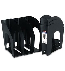 Rubbermaid Nestable Plastic Magazine File, 4.625W x 10.875D x 11.375H Inches, Black, Two per Pack
