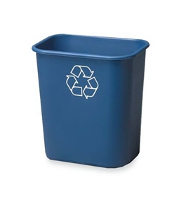 "Rubbermaid(R) Deskside ""We Recycle"" Container, 7 Gallons, 14 1/4""H x 15""W x 10 1/4""D, Blue"