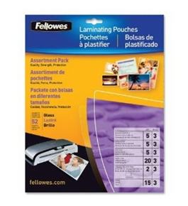 Fellowes Laminating Pouches, Thermal, Kit, Assorted Sizes, 3 Mil, 52 Pack