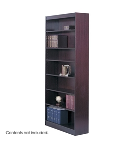 Safco 5-Shelf Square-Edge Veneer Bookcase, Mahogany [Kitchen]