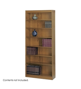 Safco 6-Shelf Square-Edge Veneer Bookcase, Medium Oak [Kitchen]
