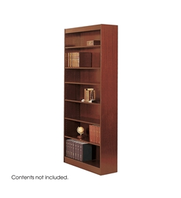 Safco 7-Shelf Reinforced Square-Edge Veneer Bookcase, Cherry [Kitchen]