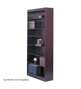 Safco 7-Shelf Reinforced Square-Edge Veneer Bookcase, Mahogany [Kitchen]