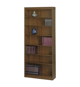 Safco 7-Shelf Square-Edge Veneer Bookcase, Walnut for Workplace/Home