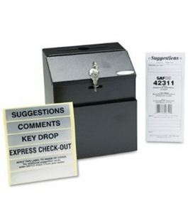 Safco Steel 7 x 6 x 8 1/2 Inch Suggestion/Key Drop Box with Locking Top (4232BL)