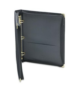 Samsill 15250 Classic Collection Zippered Ring Binder, 8-1/2 X 11, 1-1/2 Capacity, Black