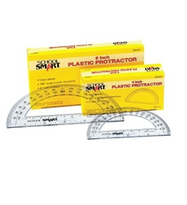 School Smart Plastic 180 Degree Protractor with 6 inch Ruler