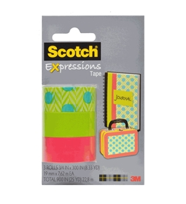 Scotch Expressions Magic Tape/ 3/4 x 300 Inches/ Blue Green/ Green/ Salmon/ 3-Rolls/Pack (C214-3PK-7)