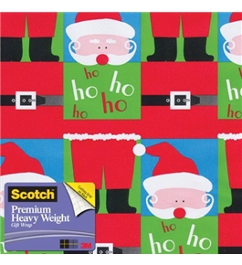 Scotch Gift Wrap, Split Santa Pattern, 25-Square Feet, 30-Inch x 10-Feet (AM-WPSSA-12)