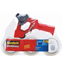 Scotch Heavy Duty Shipping Packaging Tape, 1.88 Inches x 54.6 Yards, 3 Rolls of Tape with Free SB-200 Dispenser (3850-3-FPD)