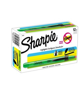 Sharpie Accent Pen-Style Retractable Highlighters, 12 Fluorescent Green Highlighters(28026)