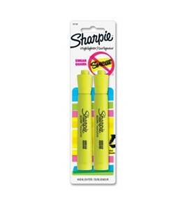 Sharpie Accent Tank-Style Highlighters, 2 Fluorescent Yellow Highlighters (25162PP)