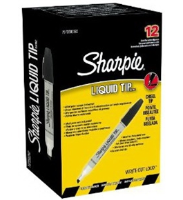 Sharpie Liquid Chisel Tip Permanent Markers, 12 Black Markers (7073502392)