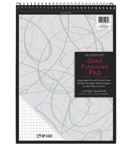 Silverpoint Top Wire Pad, Heavy Back, Quadrille Rule, 8.5 x 11.75 Inches, 70 Sheets, Protective Cover, Blue/Black (51070)