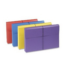 Smead Antimicrobial File Wallet, 2-Inch Expansion, Legal Size, Blue/Purple/Red/Yellow, 4 per Pack (77300)