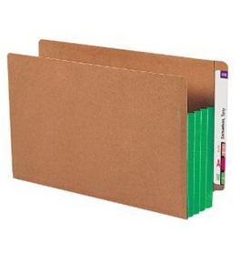 Smead End Tab File Pockets, 3-1/2 Inch Expansion, Extra-Wide Legal Size, Redrope with Green Tyvek Gussets, 10/Box (74680)