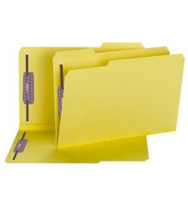 Smead Fastener Folders, SafeSHIELD Fasteners in Positions 1 and 3, 1/3-Cut Tab, 2-Inch Expansion, Legal Size, Yellow, 25 per Box (19939)