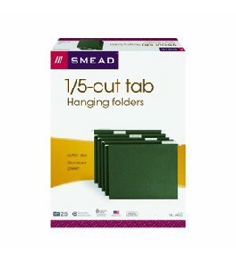 Smead Flex-i-Vision Hanging File Folders, Letter Size, 1/5 Cut Tab, Green, 25 per Box (64055)