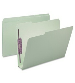 Smead Pressboard Fastener Folder, Letter, 1/3 Cut Tab, Grey/Green, 25 per Box (14944)