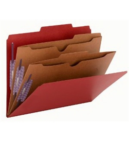 Smead Pressboard Folders, 2 Pocket Dividers, 6-Section, Letter Size, Bright Red, 10 per Box (14082)